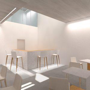 Diseño de cafetería para gimnasio interior bajo patio