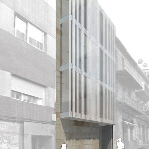 Fachada de edificio para gimnasio y spa en Irmandiños