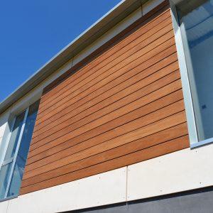 Fachada de viroc y madera en vivienda