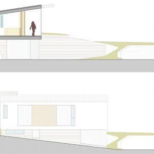 Alzado y sección de vivienda en Ponteareas
