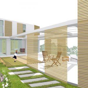 Terraza y pérgola de vivienda en Alcabre