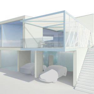 Terraza y porche privados en vivienda unifamiliar en Beade