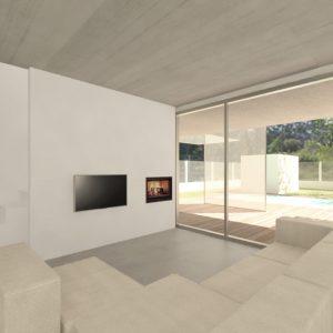 Vista interior salón en vivienda unifamiliar en Vilariño