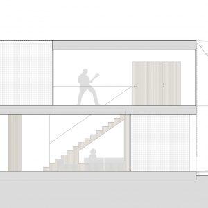 Sección interior de vivienda unifamiliar en Vilariño